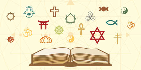 vector illustration of old book and different religious symbols for spiritual knowledge concept Vectores