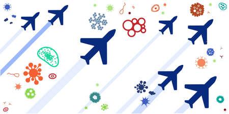 vector illustration of virus spread and international flights problem visual