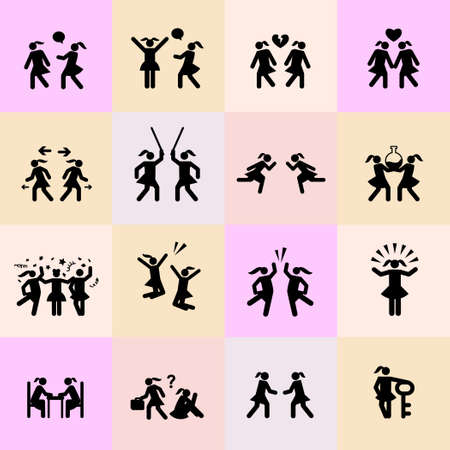 vector icons set for women relationship and feminist issues icons set and emblems