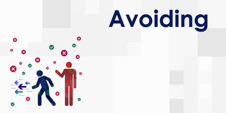 vector illustration of avoiding style of conflict solving