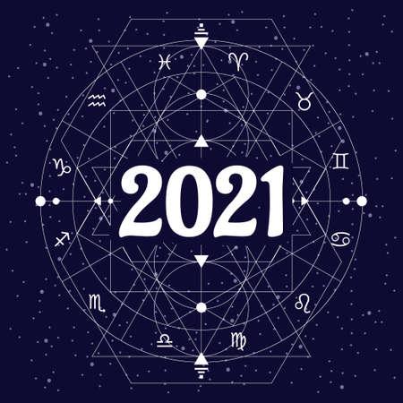 vector illustration of zodiac wheel geometric linear design for 2021 year predictions