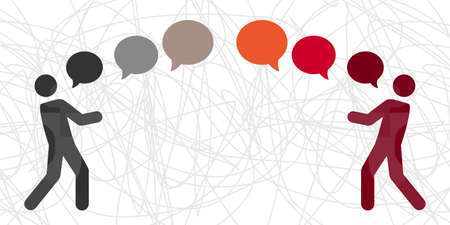 vector illustration of people and comments for conflict solving and communication process Vektorové ilustrace