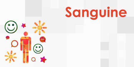 vector illustration sanguine type people with temperament name title