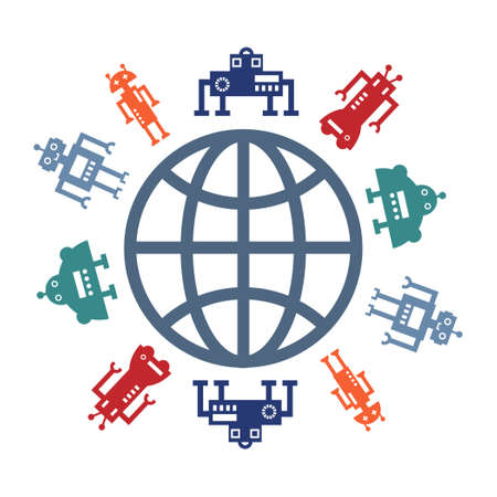 vector illustration of colorful robots around globe for artificial intelligence international usage