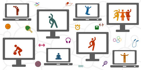 vector illustration of human silhouette and sport tracking devices for fitness apps subscriptions 向量圖像