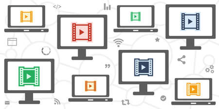 vector illustration of screens and video for visual content broadcasting and internet TV media 向量圖像
