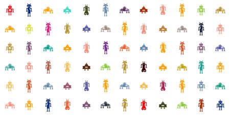 vector illustration of colorful grid with small robot symbols for artificial intelligence white background 向量圖像