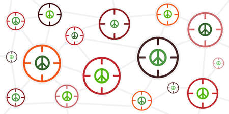 vector illustration of peace symbols and shooting targets for well being in danger concept