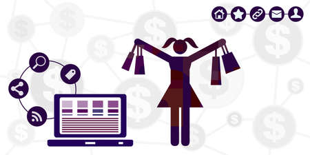 vector illustration with online shopping and happy girl symbols