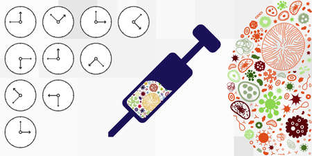 vector illustration of syringe with vaccine for virus and time for developing remedy