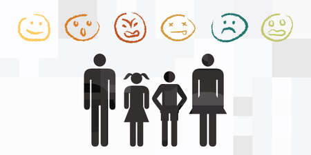 vector illustration with family members and basic emotions faces reactions 向量圖像