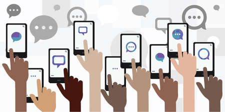 vector illustration of many phone screens with comments for online communication and activism