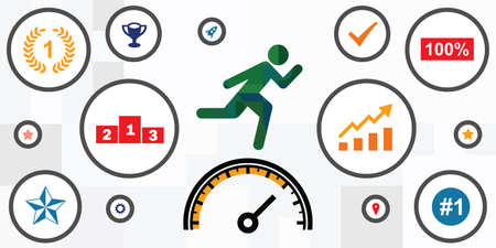 vector illustration of running person and speedometer for productivity and moving fast