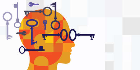 vector illustration of keys and human head for intellectual solving problems analyzing