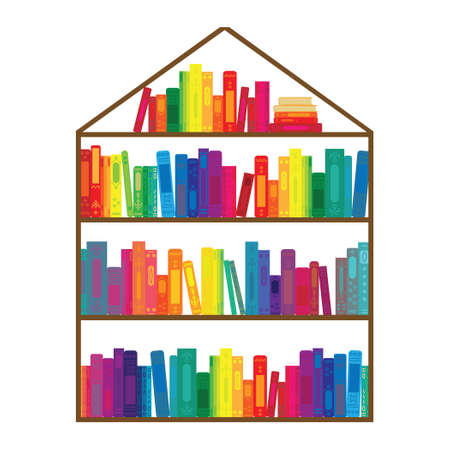 vector illustration of home made from colorful books library concept 向量圖像
