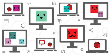 vector illustration of faces for negative psychological influence from cyber harassment