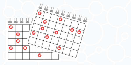 vector illustration of cancelled calendar dates for booking failure and delay issues