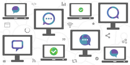 vector illustration of many screens with comments for online communication 向量圖像
