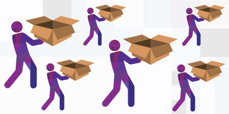 vector illustration for goods delivery service with workers carrying boxes