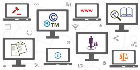 vector illustration of many screens and copyright symbols for intellectual digital rights