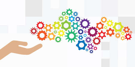 vector illustration of hand and colorful mechanism for management and settings control visual