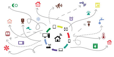 vector illustration of different devices and smart home internet of things concept 向量圖像