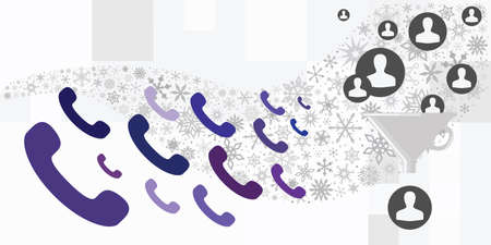 vector illustration of cold calls marketing strategy with phone and snowflakes 向量圖像
