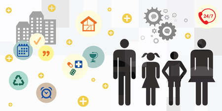 vector illustration with family members and basic needs for household and lifestyle