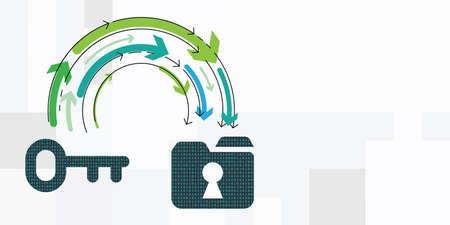 vector illustration of digital folder and arrows for data transfer platform visualization 向量圖像