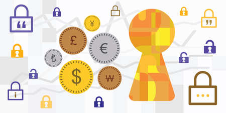 vector illustration of different currency money symbols and keyhole for exchange office activities 向量圖像