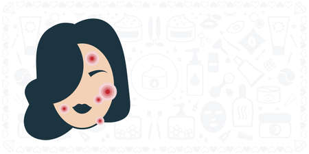vector illustration of woman with skin disease acne and cosmetic and care products on background