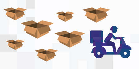 vector illustration for goods delivery service with courier carrying boxes on scooter