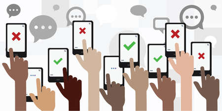 vector illustration of hands with phones for online voting and activism concept
