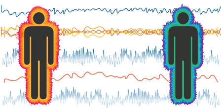 vector illustration of couple and heart electric waves for coherent and incoherent body 向量圖像