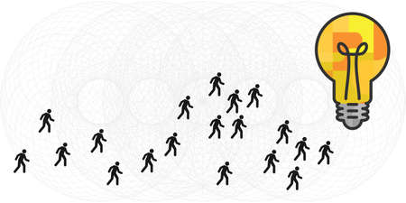 vector illustration of lightbulb and people following same idea concept