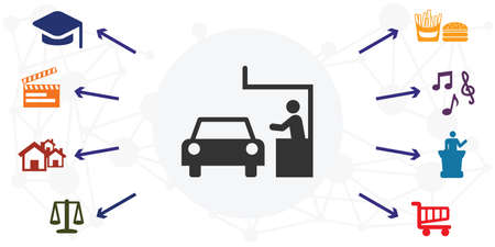 vector illustration of drive in services with colorful icons grid