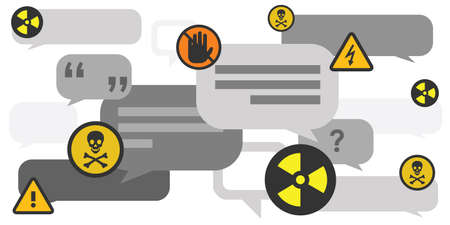 vector illustration of two toxic symbols and comments for internet trolling and aggressive communication