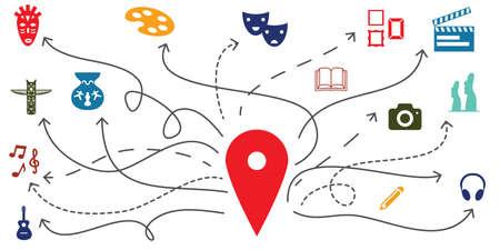 vector illustration of cultural tourism symbols and travel destination places