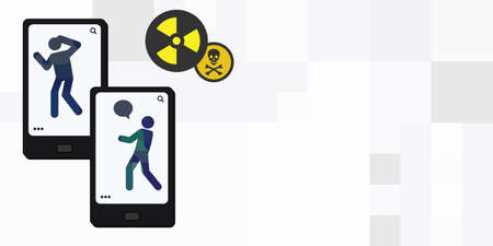 vector illustration of toxic and mobile phone device for internet trolling and offensive communication Vektorové ilustrace