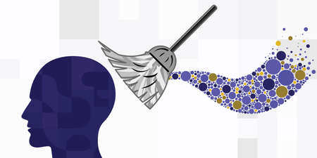vector illustration of human head broom for old memories cleaning and healing toxic thoughts Vector Illustratie