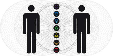 vector illustration of human body with electromagnetic fields and chakras for spiritual energy flow Ilustración de vector
