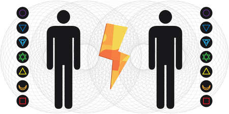 vector illustration of human body with electromagnetic fields and chakras and thunder electric energy