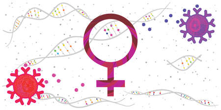 vector illustration of female symbol and food for balancing hormonal regulation
