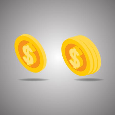 golden coins: Vector Illustration of golden coins. Golden coins isolated on white. Golden coins vector illustration. Money. Dollar. Gold. Coins