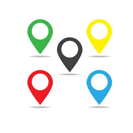 Map pointer icon. GPS location symbol. Flat design style
