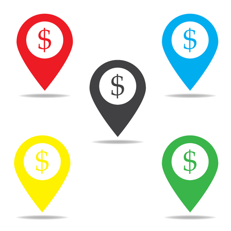dollar icon: Map pointer with dollar sign icon Illustration