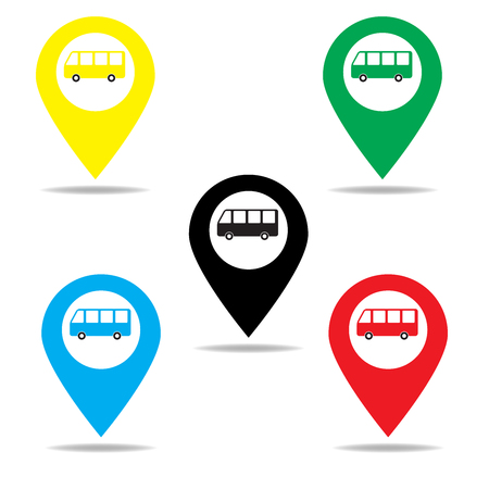 autobus: Map marker with icon of a bus