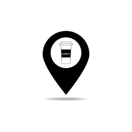 coffee cup icon: Map pointer with coffee cup icon