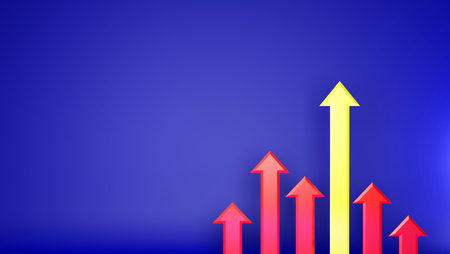 competitor: Advantage Increasing up yellow graph. Represent to advantage from competitor. Glow up more than competitor