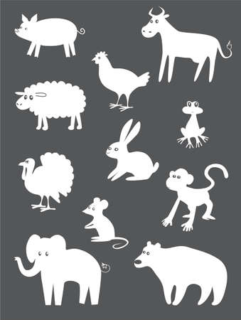 bear silhouette: Abstract animals set Illustration